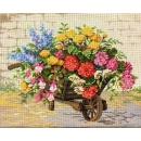 stramien + garenpakket, kruiwagen met bloemen (100% wol)