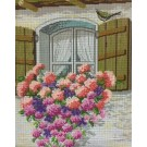 stramien + garenpakket, bloemenvenster (100% wol)