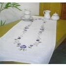 steelsteekloper paarse viooltjes met bloemen/bladeren, wit
