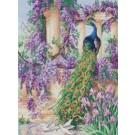 borduurpakket pauw met bloemen/vogels