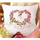 borduurpakket trouwringkussen, bloemenhart (ecru)
