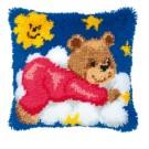 knoopkussen teddybeer op wolk, rose
