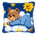 knoopkussen teddybeer op wolk, blauw