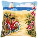 kruissteekkussen fiets aan het strand