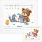 """borduurpakket """"geboortecadeautje"""" (incl. blauw/rose garen)"""