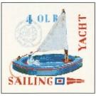 borduurpakket zeilboot, blauw
