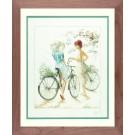 borduurpakket willem haenraets, meisjes op fiets