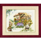 borduurpakket cottage met bloemen