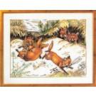 borduurpakket spelende vosjes